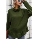Basic Women's Sweater Solid Color Ruffle Edge Turtleneck Long-sleeved Regular Fitted Knitted Sweater