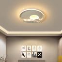 Sunrise Landscape Design Ceiling Light Creative Modern Acrylic Bedroom Round LED Flush Mount in Warm/White Light