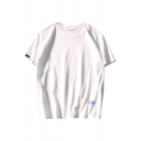 Novelty Mens T-Shirt Label Patch Purified Cotton Relaxed Fitted Short Sleeve Crew Neck Tee Top
