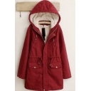 Vintage Womens Parka Solid Color Sherpa Lined Drawstring Waist Zipper Detail Long Sleeve Mid-Length Hooded Loose Fit Parka