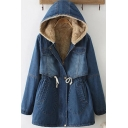 Retro Womens Jacket Faded Wash Sherpa Lined Thick Drawstring Waist Mid-Length Zipper up Hooded Slim Fit Long Sleeve Denim Jacket