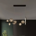 Clear Glass Bubble Island Light Modern 7 Lights Black Linear Design Hanging Lamp over Table