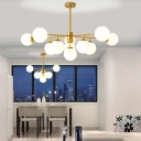 Branched Hanging Pendant Light Postmodern Cream Ball Glass 9/11-Head Black/Gold Chandelier for Guest Room