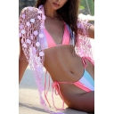 Unique Womens Jacket Sequin Tassel Detail Fishnet Cover-up Sun Protection Triangle Beach Shawl
