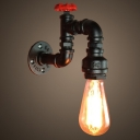 Industrial Water Tap Wall Lighting Single-Bulb Iron Wall Mounted Lamp in Black with Valve Deco