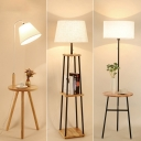 Cone/Round/Empire Shade Floor Light Contemporary Fabric 1-Light Black/White Standing Lamp with Wood Table/Shelf