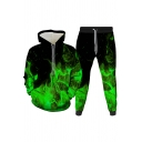 Cool Mens Co-ords 3D Fire Pattern Slim Fitted 7/8 Length Tapered Pants Long Sleeve Hoodie Jogger Co-ords