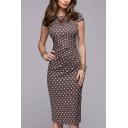 Womens Dress Fashionable Polka Dot Print Knee-Length Slim Fitted Round Neck Short Sleeve Bodycon Dress