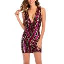 Womens Dress Trendy Contrast Sequin Detail Mini Slim Fitted Deep V Neck Sleeveless Bodycon Dress
