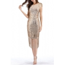 Womens Dress Chic Sequin Decoration Fringe Hem Midi Slim Fitted Round Neck Cap Sleeve Bodycon Dress