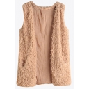 Creative Womens Vest Solid Color Open Front Sleeveless Slim Fitted Sherpa Vest