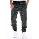 Military Style Camouflage Pattern Drawstring Waist Relaxed Fit Sport Fitness Pants