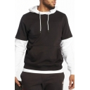 Mens Stylish Two Tone Panel Long Sleeve Slim Fit Drawstring Sport Hoodie