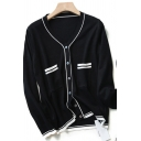 Elegant Cardigan Contrast Stitching Trims Front Pockets Button-down Long Sleeves Slim Fitted Cardigan for Women