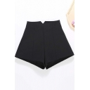 Womens Shorts Unique Plain Thick Split-Waistband Wide Leg High Waist Slim Fitted Relaxed Shorts