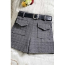 Unique Womens Shorts Double Flap Pockets Front Woolen High Rise Regular Fitted Wide Leg Relaxed Shorts with Belt