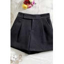 Womens Shorts Trendy A-Line Woolen Button Decoration Zipper Fly Wide Leg High Waist Regular Fitted Relaxed Shorts