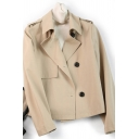 Casual Women's Trench Coat Solid Color Single-Breasted Notched Collar Long-sleeved Regular Fitted