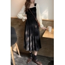 Fancy Women's A-Line Dress Patchwork Velvet Ruffled Trim Pleated Waist Long Flare Cuff Sleeve Square Neck Regular Fitted Midi A-Line Dress