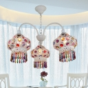 Mediterranean Lantern Chandelier 3 Lights Iron Ceiling Pendant with Beaded Fringe in White/Red/Blue