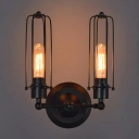 1/2-Bulb Tube Cage Wall Light Kit Industrial Black Iron Adjustable Wall Mount Lamp