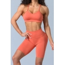 Womens Sport Co-ords Trendy Solid Color Beauty-Back Quick Dry Sleeveless Strap Camisole Slim Fitted Shorts Yoga Co-ords