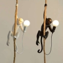 Art Deco Monkey Hanging Lamp Resin Single-Bulb Kids Bedroom Down Lighting Pendant in Black/White/Gold
