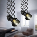 Loft Style Electric Torch Drop Pendant Single-Bulb Metal Retractable Ceiling Hang Light in Black for Beer Bar
