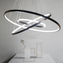Simple Halo Ring LED Pendant Lighting Acrylic 3-Light Bedroom Hanging Chandelier in Black/White