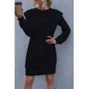 Fancy Women's Sweater Dress Solid Color Shoulder Pads Rib-Knitted Trim Long Sleeves Crew Neck Regular Fitted Sweater Dress