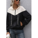 Womens Hoodie Trendy Color Block Panel Zipper up Slim Fitted Long Sleeve Hoodie with Pockets