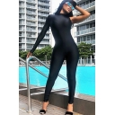 Creative Womens Jumpsuit Plain Invisible Zipper Mock Neck Long Sleeve One Shoulder Skinny Fitted Fitness Jumpsuit