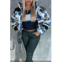 Womens Puffer Jacket Stylish Contrast Floral Vine Print Zipper down Slim Fit Long Sleeve Cropped High Neck Down Jacket