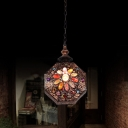 1-Light Octagon Lantern Pendulum Light Boho Copper Iron Hanging Ceiling Light for Dining Room