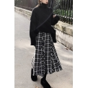 Trendy Women's Set Solid Color High Neck Long-sleeved Relaxed Fitted Sweater with Plaid Pattern Tassel Design A-Line Skirt Co-ords
