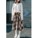 Stylish Women's Set Cable Knit Solid Color Ribbed Trim Crew Neck Long-sleeved Relaxed Fit Sweater with Plaid Pattern A-Line Skirt Co-ords