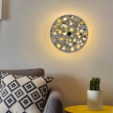 Creative Artistic Round Sconce Light Terrazzo Bedroom LED Wall Mounted Lamp in Blue/Red/White