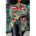 Classic Womens Jacket Camouflage Big-Lip Pattern Sequin Decoration Full-Button Long Sleeve Turn-down Collar Regular Fit Mid-Length Denim Jacket