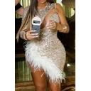Stylish Women's Bodycon Dress Glitter Sequins Feather Design Patchwork Mesh Gauze One Shoulder Round Neck Slim Fitted Bodycon Dress