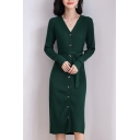 Casual Women's Sweater Dress Solid Color Ribbed Knit Button-down V Neck Long Sleeves Slim Fitted Midi Sweater Dress with Belt