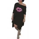 Unique Womens Dress Lip Pattern Asymmetric Hem Long Sleeve Knee Length Relaxed Fitted Sloping Shoulder Swing Dress