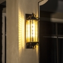 Small/Large Cylinder Grid Glass Wall Lighting Antique Style 1 Bulb Porch Wall Sconce in Brass