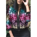 Retro Women's Jacket Sequins Glitter Design Multi Color Contrast Ribbed Trim Zip Fly Long Sleeves Regular Fitted Casual Jacket
