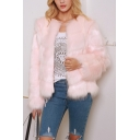 Womens Fashionable Collarless Long Sleeve Open Front Plain Faux Fur Short Textured Jacket Coat