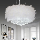 White Drum Chandelier Lamp Minimalist 3/9/11 Heads Feather Hanging Pendant Light with Beveled Cut Crystal Orb, 16