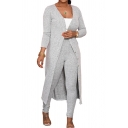 Womens Co-ords Chic Space Dye Button up Long Sleeve Maxi Jacket Full Length Pants Slim Fit Co-ords