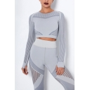 Fancy Women's Active Set Contrast Panel Stripe Pattern Crew Neck Long Sleeves Slim Fitted Tee Top with High Waist Long Pants