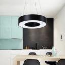 Circle Dining Room Down Lighting Metal Modernist LED Hanging Pendant Light in Black, 23.5