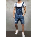Retro Mens Shorts Pockets Distressed Side Button Detail Regular Fitted Denim Overall Shorts with Washing Effect