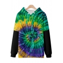 Mens 3D Hoodie Fashionable Spiral Tie Dye Faux Twinset Drawstring Long Sleeve Relaxed Fitted Hooded Sweatshirt